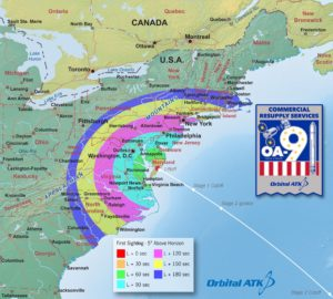Map of locations and times on the U.S. East Coast for viewing the Antares rocket launch.