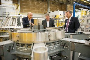 NASA's Orion Deputy Program Manager Mark Kirasich, right, visits the agency's Michoud Assembly Facility in New Orleans, where Orion's primary structure is assembled.
