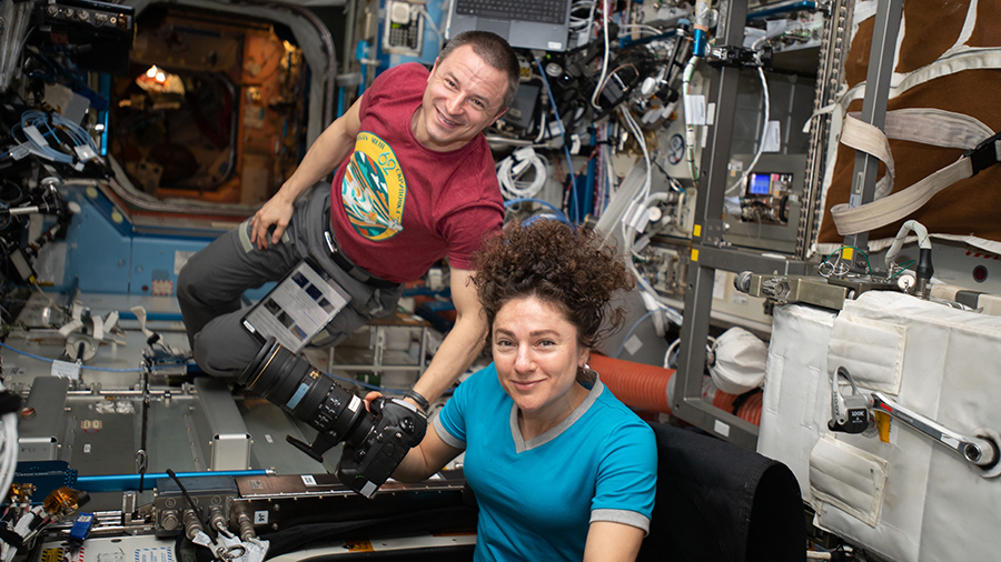 NASA astronauts Andrew Morgan and Jessica Meir