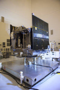 Solar array illumination test being performed on the OSIRIS-REx spacecraft inside the PHSF.