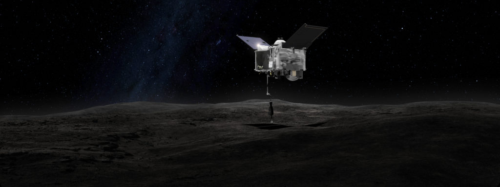 This artist's concept shows the OSIRIS-REx spacecraft contacting the asteroid Bennu.