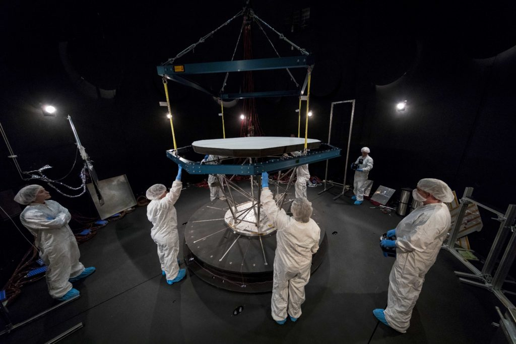 Photo of the TPS in Goddard's Thermal Vacuum Chamber