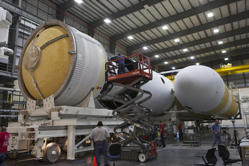 The second stage is mated to the common booster core of a United Launch Alliance Delta IV Heavy.