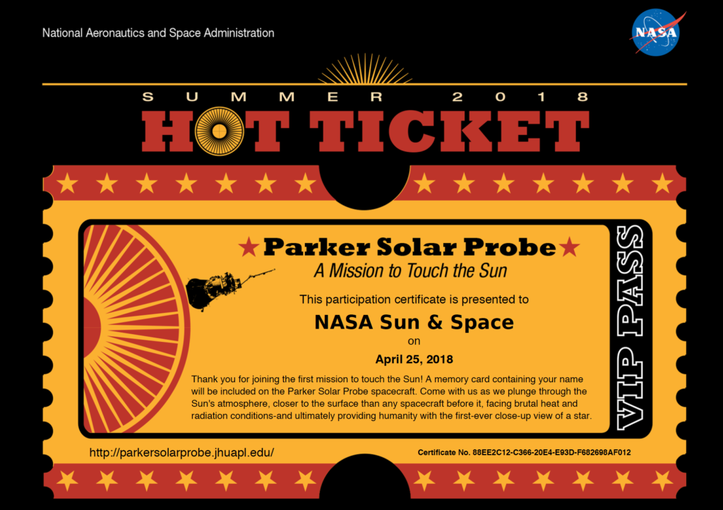 A participation certificate for NASA Sun & Space for sending their name to the Sun.