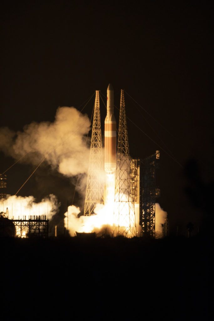 At Cape Canaveral Air Force Station's Space Launch Complex 37, the Delta IV Heavy rocket with NASA's Parker Solar Probe, lifts off at 3:31 a.m. EDT on Sunday, Aug. 12, 2018.