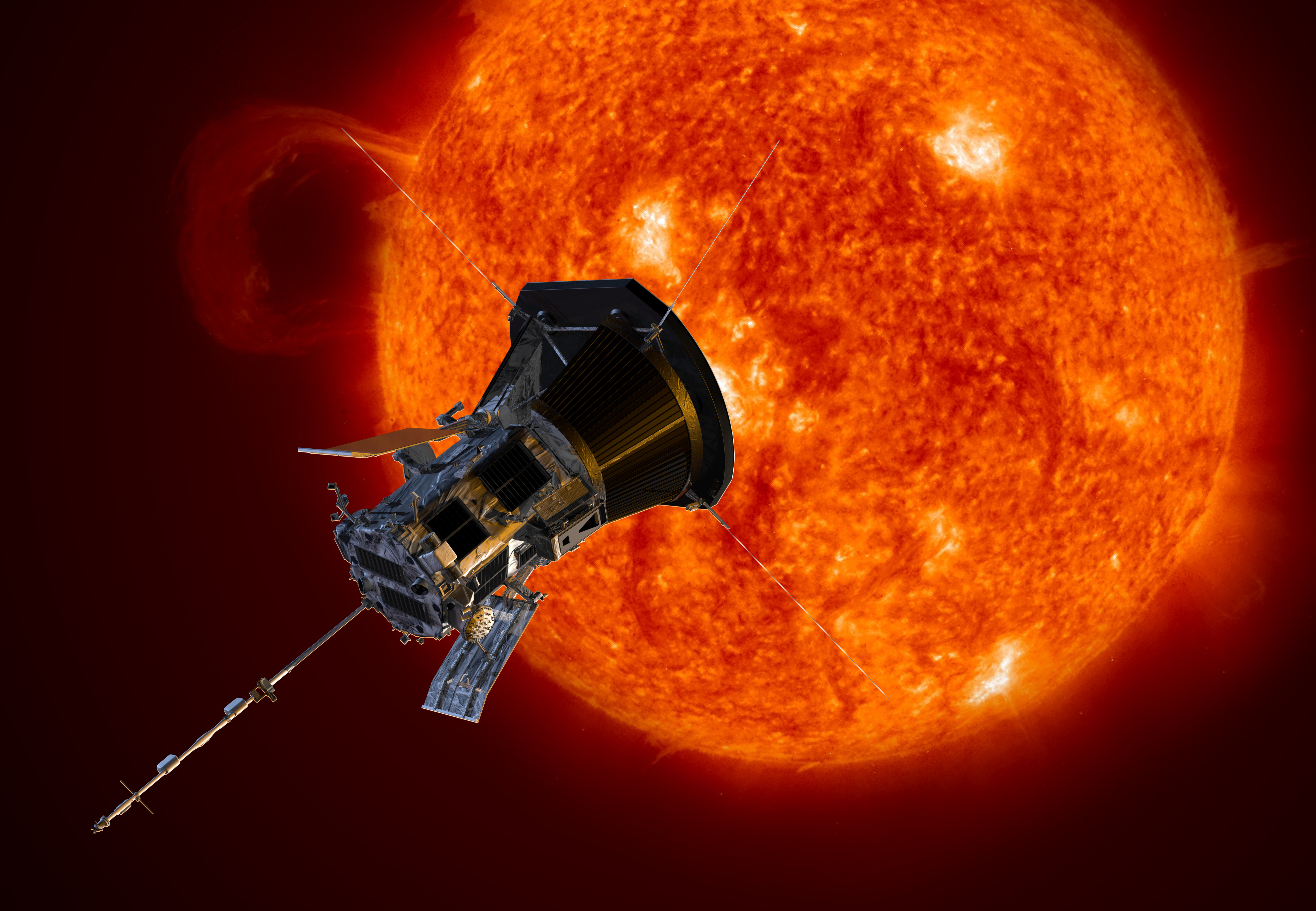 An artist rendition of NASA's Parker Solar Probe observing the sun.