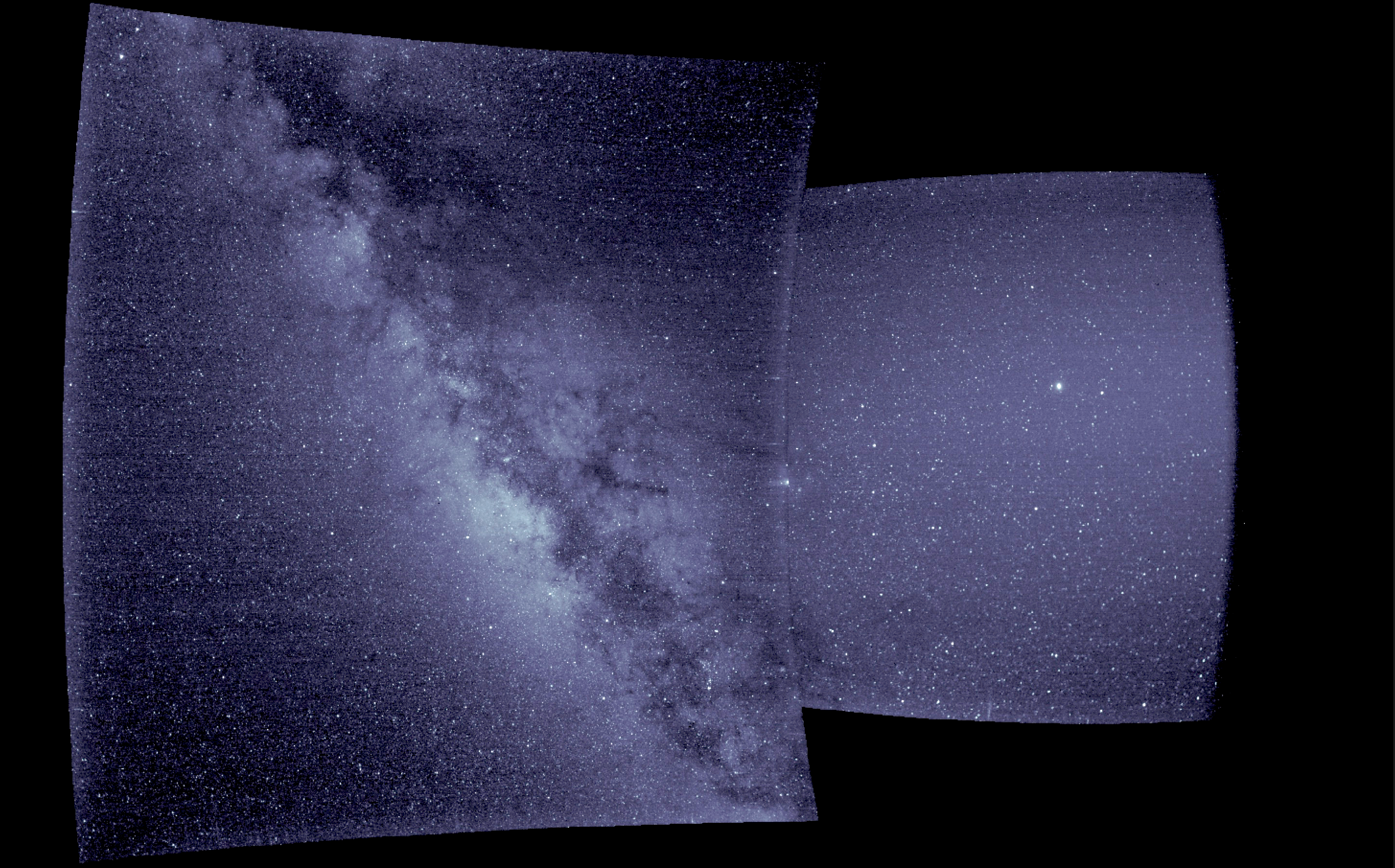 A blue-toned, two-panel image of space with stars visible throughout. In the left panel, the Milky Way is also visible.