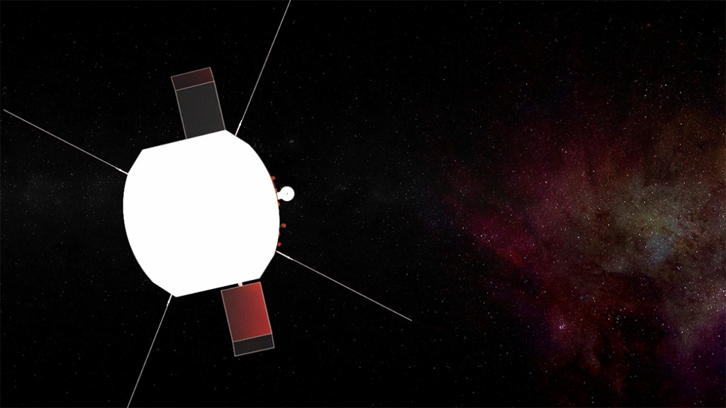Illustration of Parker Solar Probe in space, with four antennas, two solar panels, and the Solar Probe Cup visible extending from behind the heat shield.