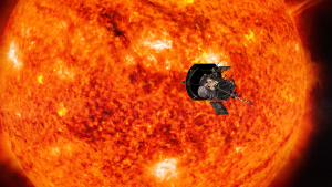 Illustration of Parker Solar Probe facing the Sun