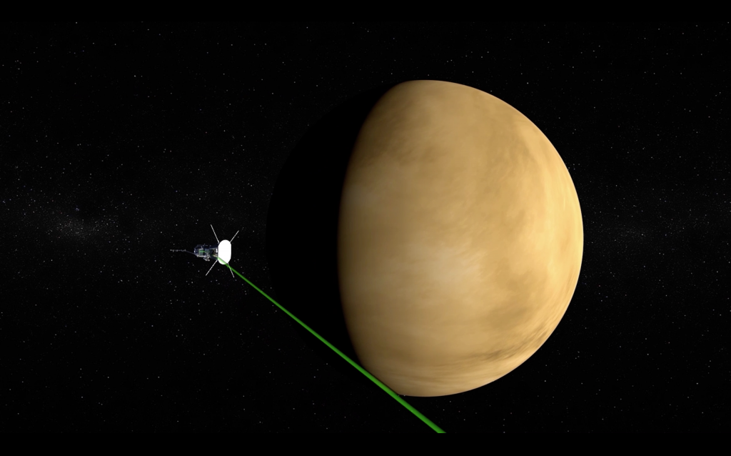 Animation of the Parker Solar Probe spacecraft flying by the planet Venus.