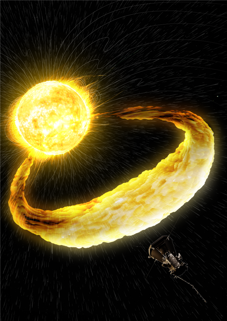 A burst of material from the Sun approaches the Parker Solar Probe spacecraft