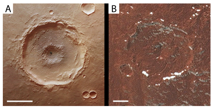 : Examples of central floor pit craters on Mars and Pluto.