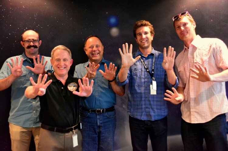Left to right: Marcus Piquette, New Horizons Principal Investigator Alan Stern, Mihály Horányi, and former SDC students Jamey Szalay and David James. Credit:  JHUAPL