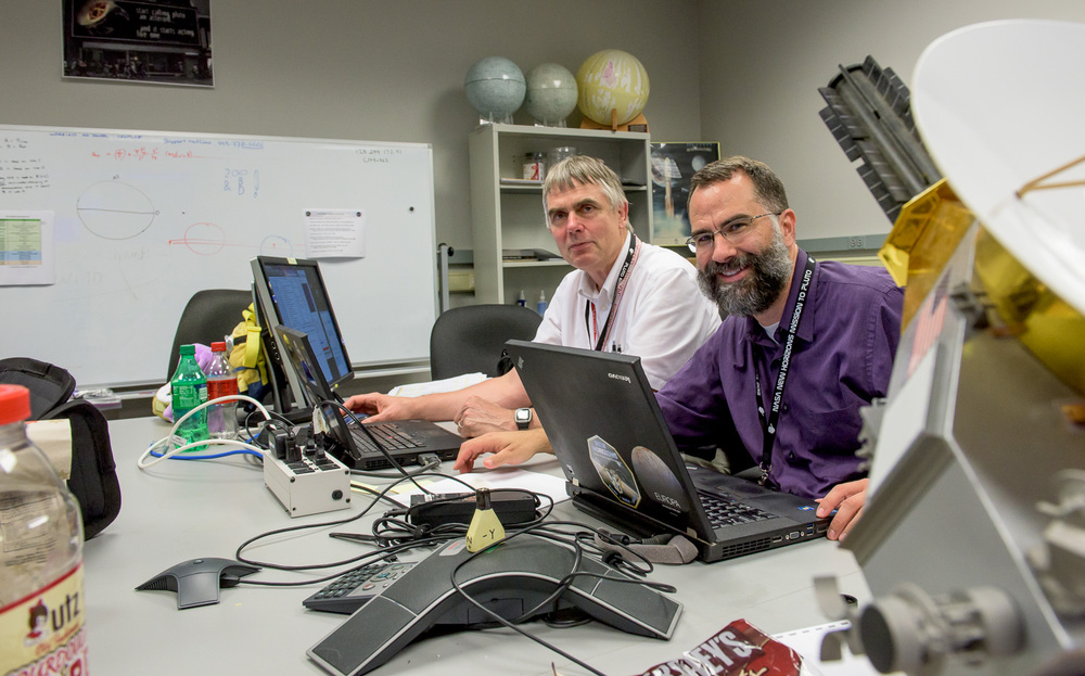 In the Payload Engineering room, shown above, Maarten Versteeg and Tommy Greathouse work with data from the Alice ultraviolet spectrometer