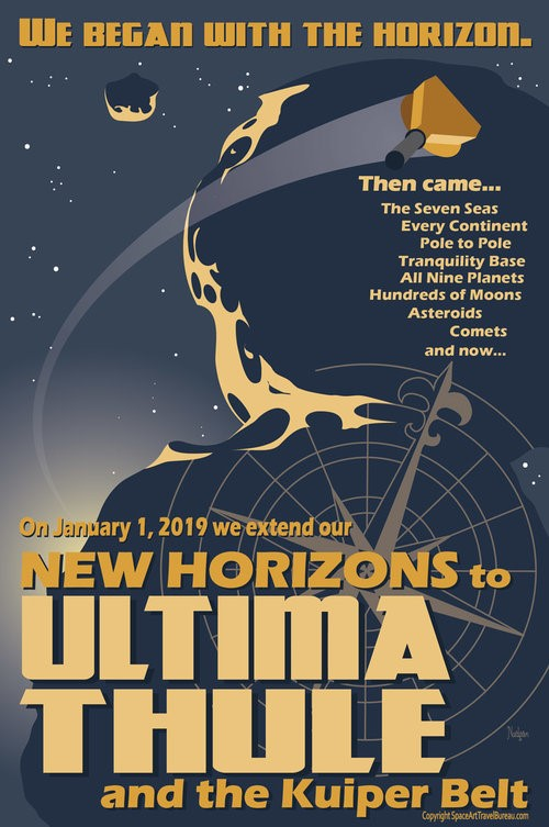 This beautiful Ultima Thule flyby poster was created by artist-astronomer Tyler Nordgen.