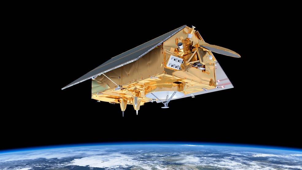 Illustration of the Sentinel-6/Michael Freilich satellite in orbit.