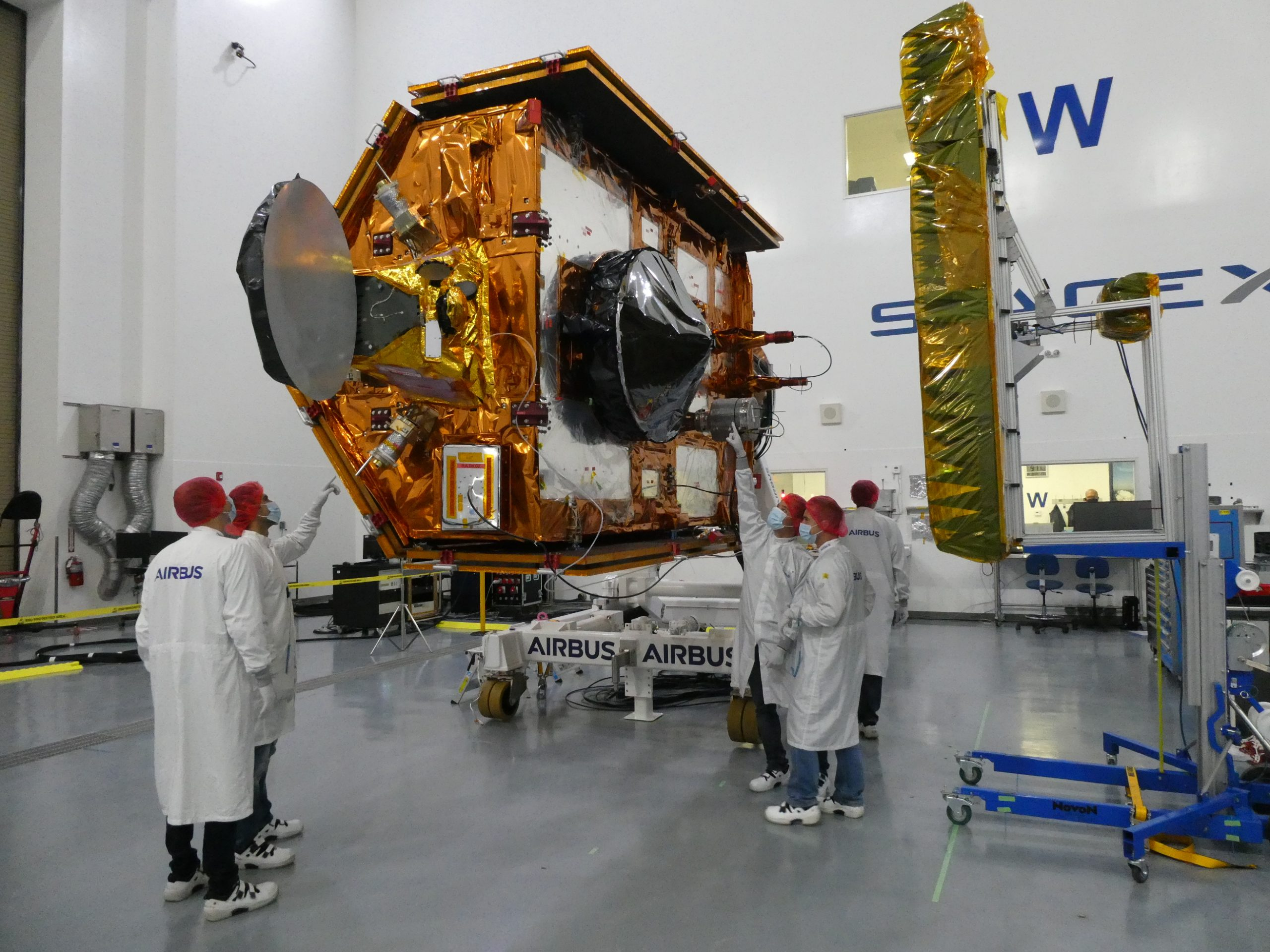 Sentinel-6 Michael Freilich team members from European Space Agency pose with the spacecraft during processing. Launch is scheduled for Nov. 11, 2020 from Vandenberg Air Force Base in California. NASA's Launch Services Program based at Kennedy Space Center is responsible for launch management.