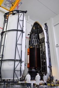 The Sentinel-6 satellite is encapsulated in the SpaceX Falcon 9 payload fairing.