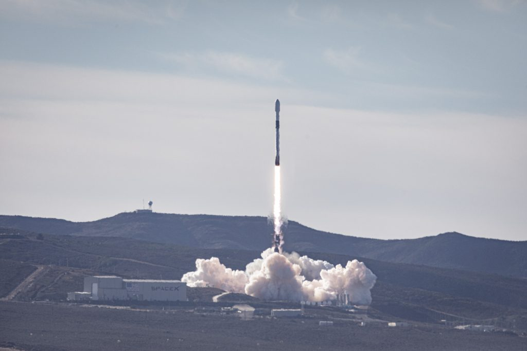 The SpaceX Falcon 9 rocket launches on Nov. 21, 2020, with the Sentine-6 Michael Freilich satellite.