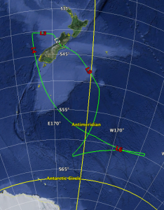 SOFIA's flight path on July 13, 2015. SOFIA flew as far south as 62 degrees.