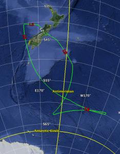 SOFIA's flight path on July 13, 2015. SOFIA flew as far south as 62 degrees.