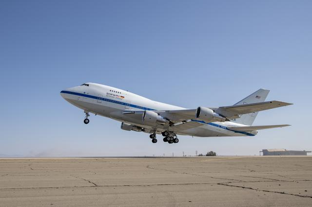 SOFIA takes off from its base of operations at NASA's Armstrong Flight Research Center's Building 703 in Palmdale, California.