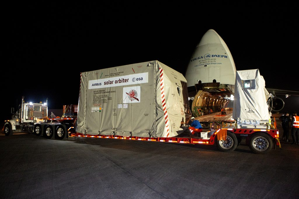 The Solar Orbiter spacecraft is placed on a truck for transportation from the Launch and Landing Facility at NASA's Kennedy Space Center in Florida to the Astrotech Space Operations facility in nearby Titusville on Nov. 1, 2019.