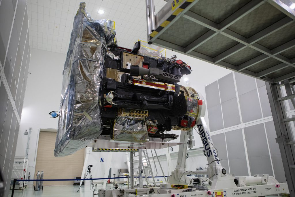 The Solar Orbiter spacecraft has been removed from its shipping container inside the Astrotech Space Operations facility in Titusville, Florida, on Nov. 18, 2019.
