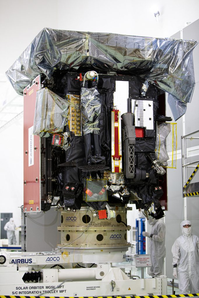 Media representatives viewed the Solar Orbiter spacecraft as it is being prepared for launch inside the Astrotech Space Operations payload processing facility in Titusville, Florida, on Dec. 16, 2019.