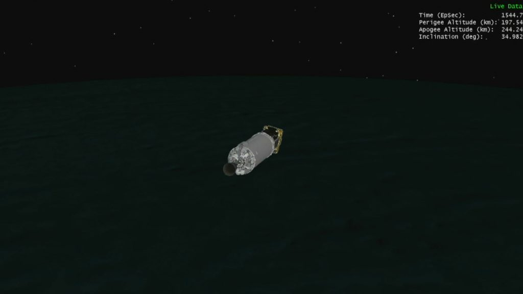Still image from an animation depicting the Centaur upper stage, with the Solar Orbiter spacecraft still attached, during the coast phase.