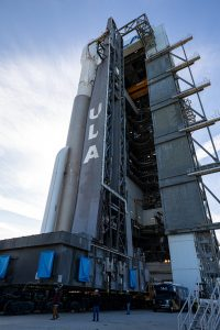 The United Launch Alliance Atlas V rocket with the Solar Orbiter spacecraft departs the Vertical Integration Facility for the launch pad at Space Launch Complex 41 on Cape Canaveral Air Force Station in Florida on Feb. 8, 2020.