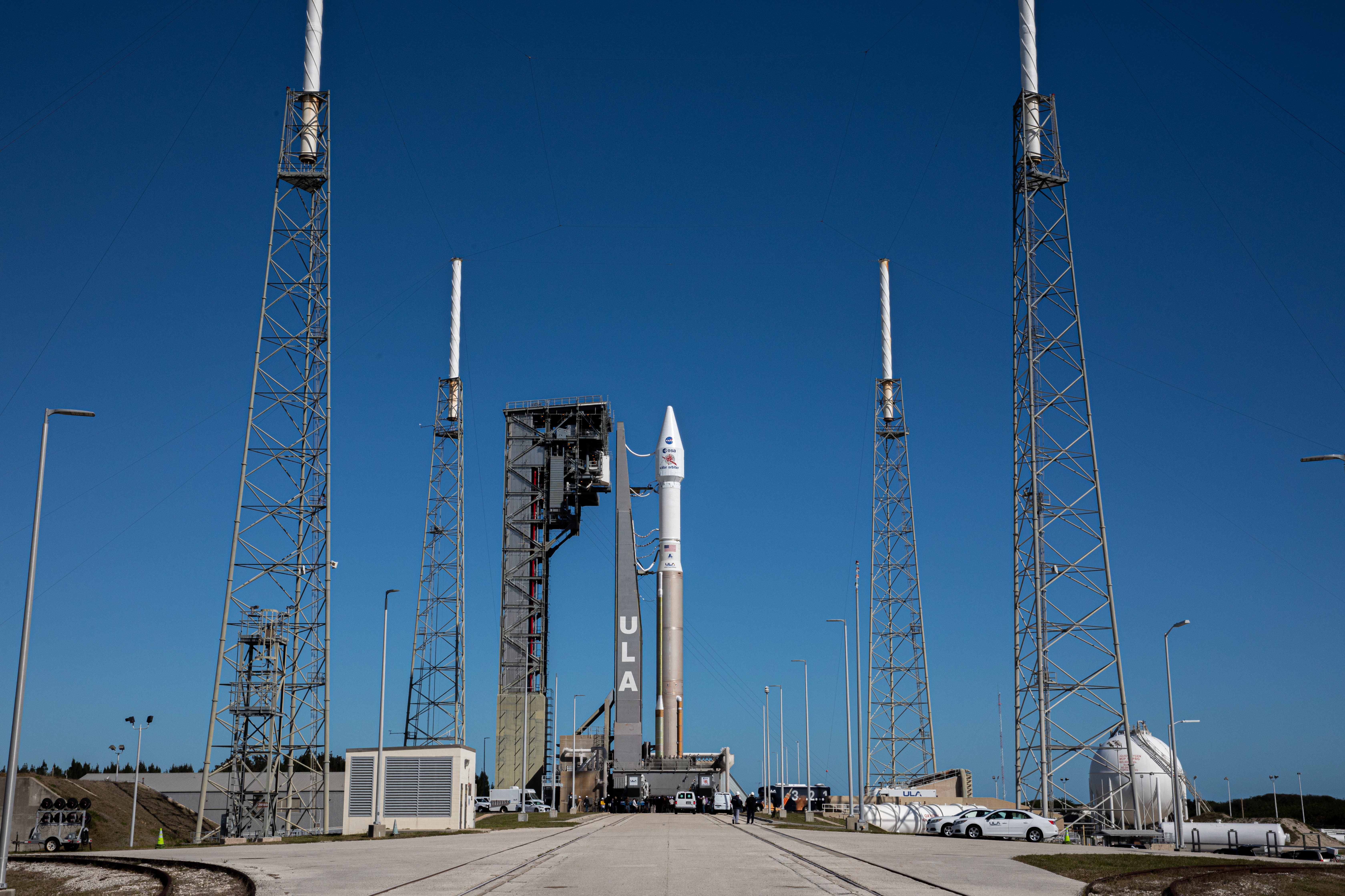 The United Launch Alliance Atlas V rocket with the Solar Orbiter spacecraft arrives at the launch pad at Space Launch Complex 41 on Cape Canaveral Air Force Station in Florida on Feb. 8, 2020.