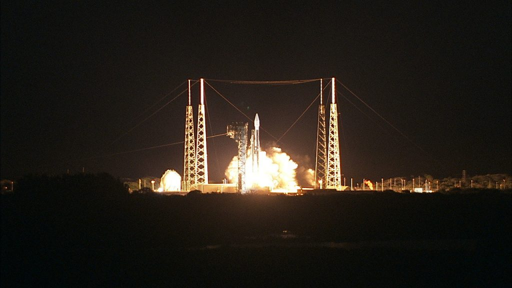 Liftoff of the Atlas V rocket with the Solar Orbiter spacecraft from Space Launch Complex 41 at Cape Canaveral Air Force Station, Florida.