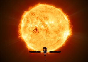 Illustration of Solar Orbiter, which will face the Sun from within the orbit of Mercury at its closest approach.