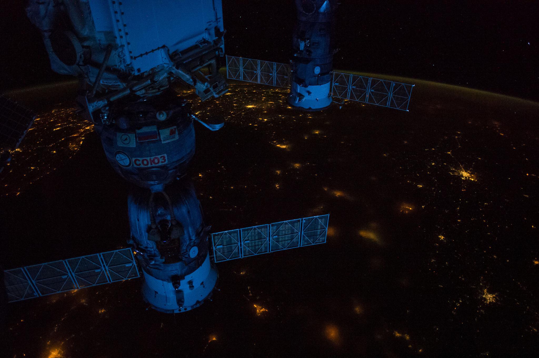 Soyuz and Progress at Night