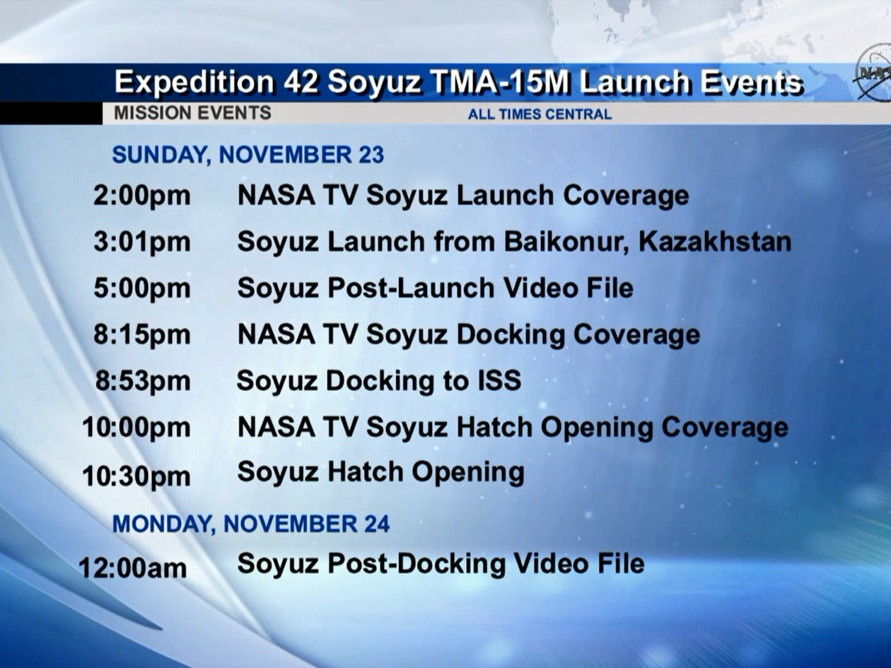 Soyuz TMA-15M Launch Schedule