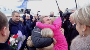 Photo: Max Suraev welcomed home. Photo # jsc2014e092491