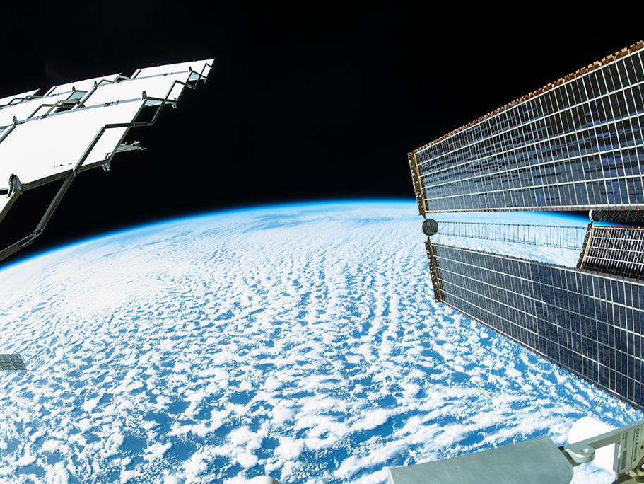 Earth View with Solar Array and Radiator