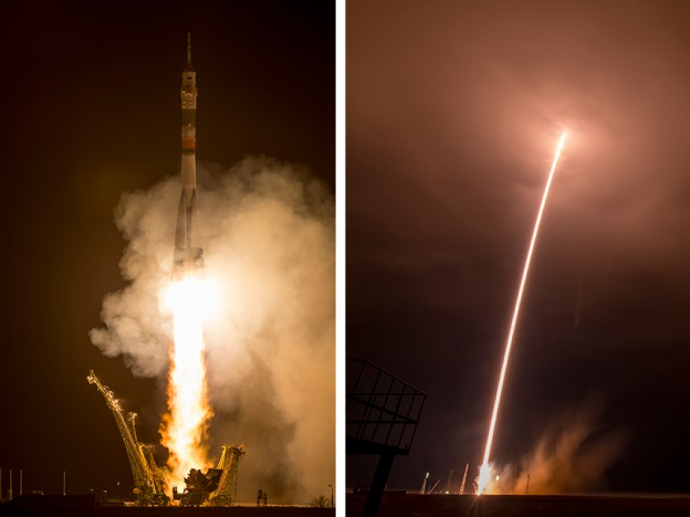 The Soyuz TMA-16M rocket launches on time