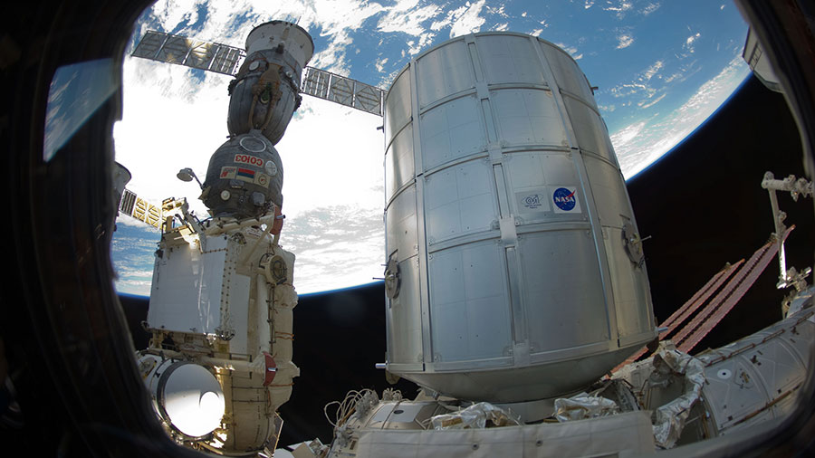 The Permanent Multipurpose Module and a docked Soyuz spacecraft