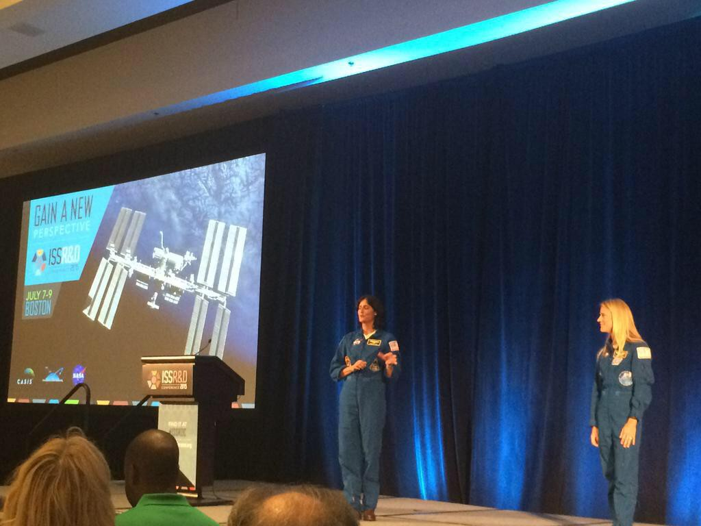 NASA astronauts Suni Williams (left) and Karen Nyberg (right) give a keynote talk on the final day of the 2015 ISS R&D Conference in Boston