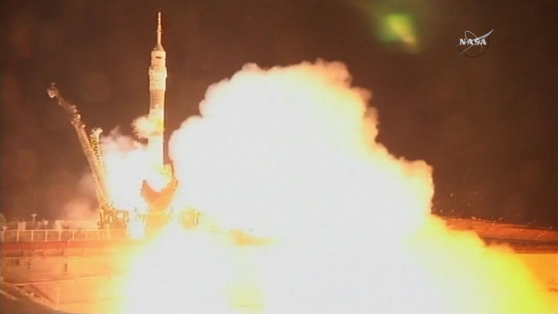 The Soyuz TMA-17M rocket launches