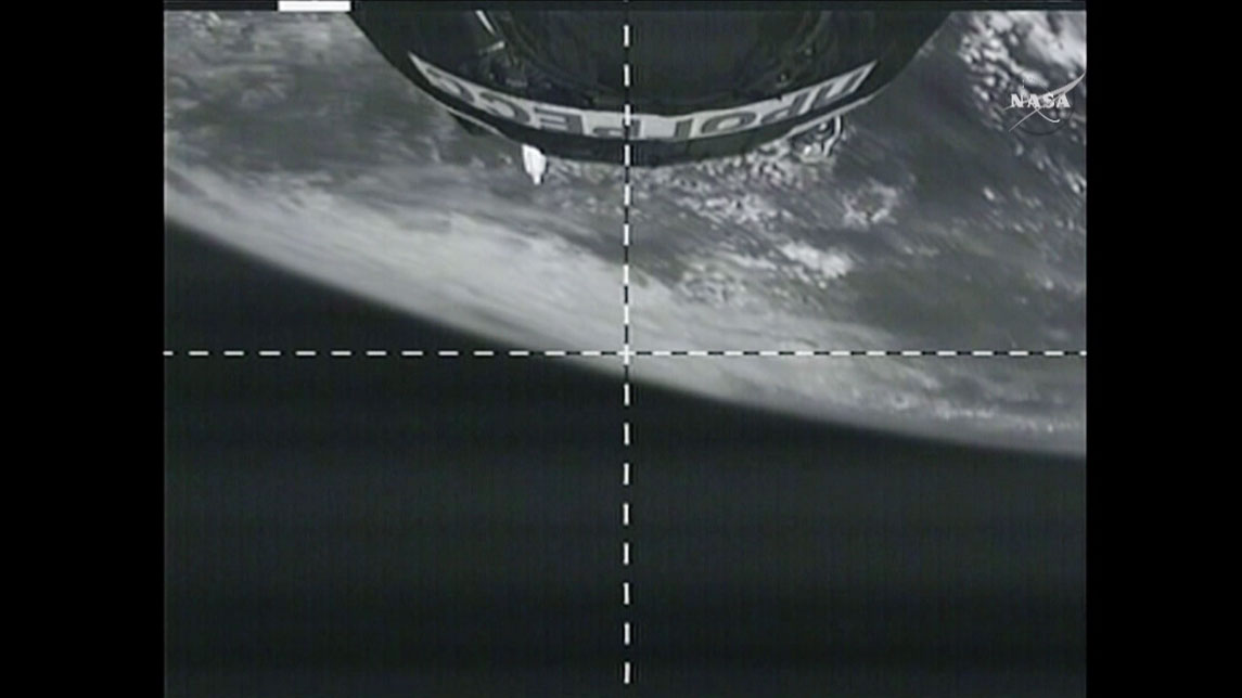 A camera from the Progress spacecraft shows the Earth below as it begins its two day trip to the space station. Credit: NASA TV