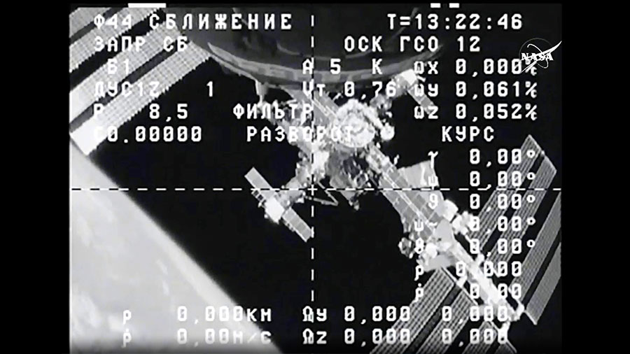 The International Space Station is seen from the cameras of the ISS Progress 58 cargo craft shortly after it undocked. Credit: NASA TV