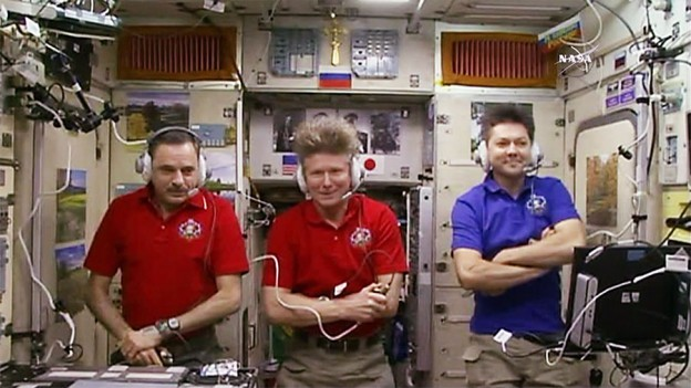 Cosmonauts Mikhail Kornienko, Gennady Padalka and Oleg Kononenko