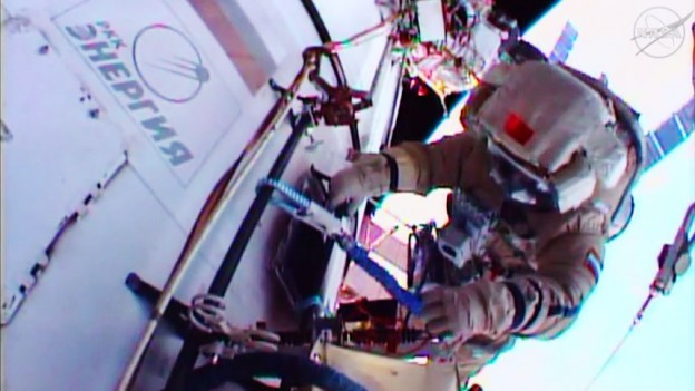 Cosmonauts Working Outside for Russian Spacewalk