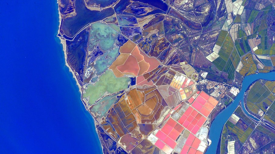 """Astronaut Scott Kelly posted this photo of Spain taken from the International Space Station on Instagram with the caption, """"Color palette of the #Spanish coast is an appealing morning view."""