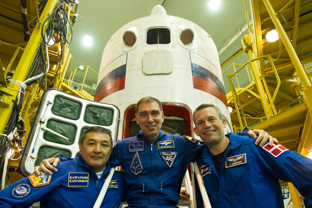 Soyuz crew (left to right) Aidyn Aimbetov, Sergey Volkov and Andreas Mogensen are set to launch at 12:37 a.m. Sept 2.