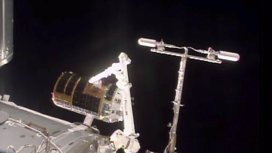 """Kounotori"" in Grips of Canadarm2"