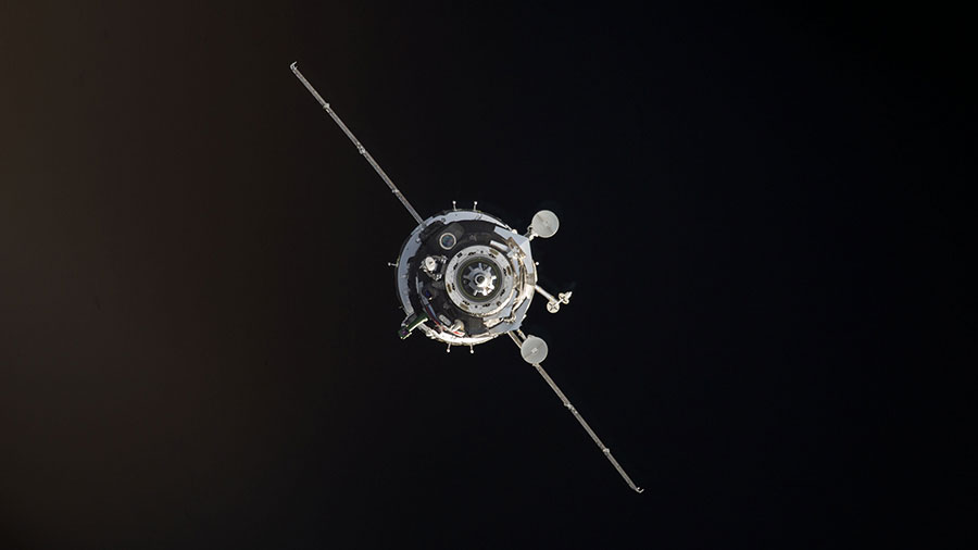 A Soyuz Spacecraft is Seen Docking